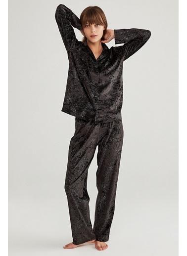 Penti Kadife Pijama Takımı Siyah